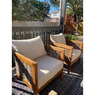 Burchett Outdoor Acacia Wood Club Chairs with Cushions (Set of 2) by Christopher Knight Home