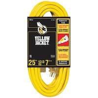 Coleman Cable 02883  Yellow Jacket 25' 12/3 Extension Cord with Power Indicator Light and Abrasion Resistant Vinyl