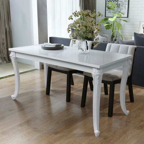 "vidaXL Dining Table 31.5""x31.5""x30"" High Gloss White"