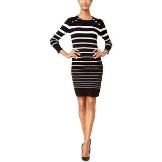 Calvin Klein Womens Petites Sweaterdress Striped Button-Shoulder