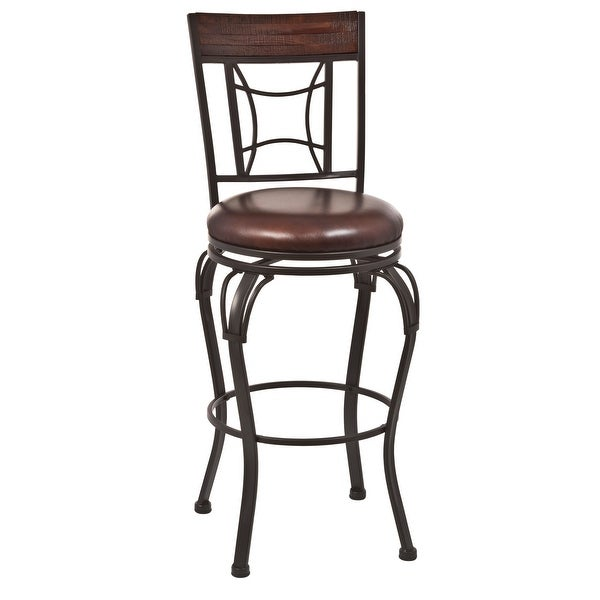 """Hillsdale Furniture 4702-830 Granada 18"""" Wide Metal and Wood Framed Polyester and Polyurethane Upholstered Art Deco Bar Stool"""