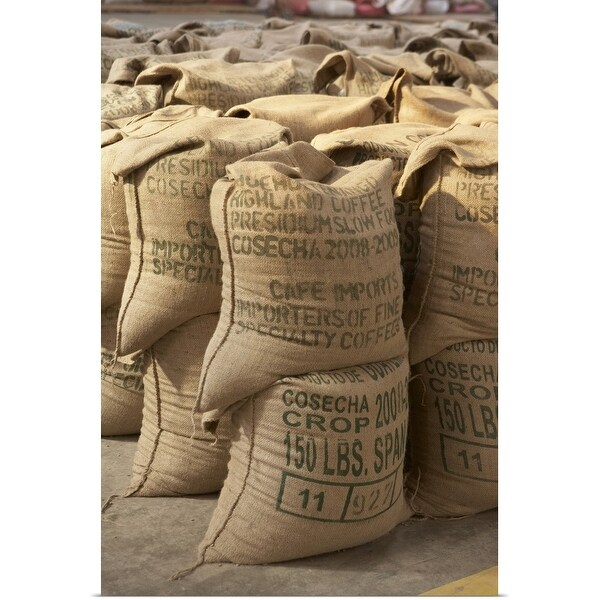 """Coffee beans packed in sacks, Guatemala"" Poster Print"