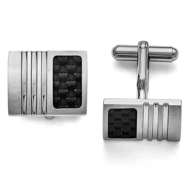 Chisel Black Carbon Fiber and Brushed Stainless Steel Cuff Links