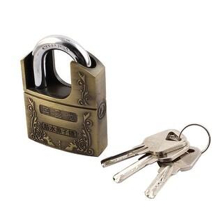 Door Alloy Safety Brass Locker Shackle Padlock 73mm x 51mm x 19mm w Keys