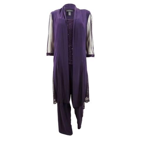 R&M Richards Women's Sequin-Embellished 3-Pc. Pantsuit (6, Plum) - Plum - 6