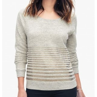 Splendid NEW Beige Gold Womens Size Small S Scoop-Neck Striped Sweater