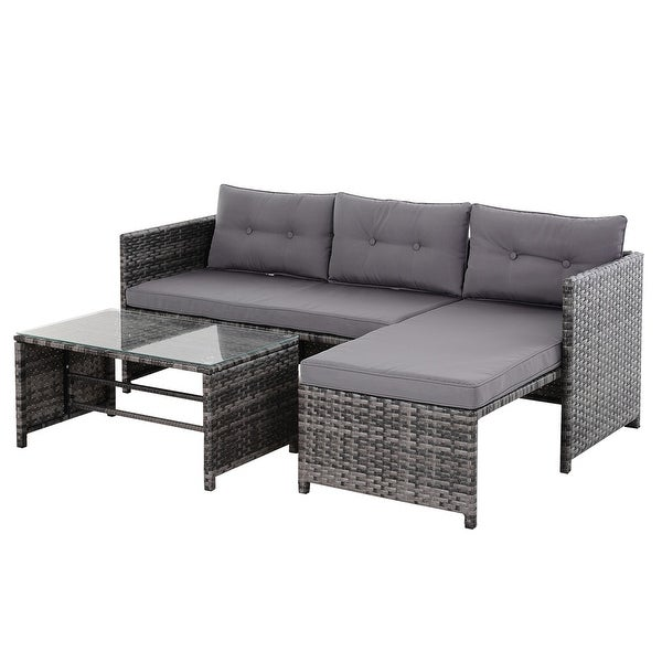 Outsunny 3-piece Wicker Rattan Patio Set. Opens flyout.