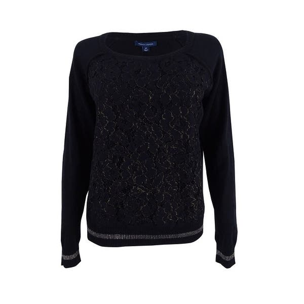 fa6cf5edb Tommy Hilfiger Women's Metallic Lace-Front Sweater