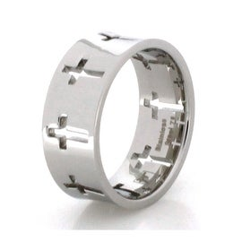 High Polish Concave Stainless Steel Hollow Cross Ring