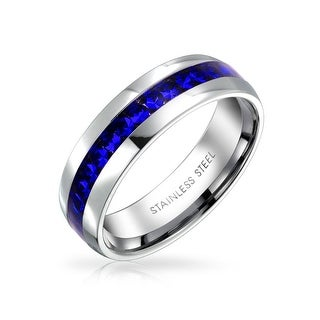 Bling Jewelry Imitation Sapphire Crystal Birthstone Eternity Ring Steel - Blue