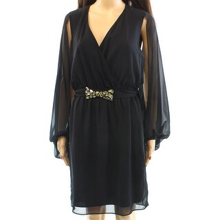 Eliza J NEW Black Chiffon Split Sleeve Women's Size 6 Sheath Dress