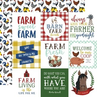 "Down On The Farm Double-Sided Cardstock 12""X12""-4""X4"" Journaling Cards"