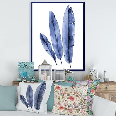 Designart 'Navy Blue Tropical Banana Leaves' Tropical Framed Canvas Wall Art Print