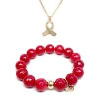 "Red Quartz 7"" Bracelet & Awareness Ribbon Gold Charm Necklace Set"