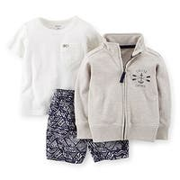 Carter's Baby Boys' 3-Piece Cardigan & Short Set - Grey - 18 Months