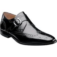 Florsheim Men's Sabato Wing Tip Monk Strap Black Leather