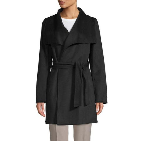 T Tahari Womens Black Lightweight Ella Wrap Coat Jacket Outerwear