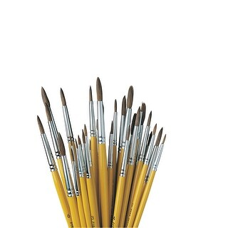 Jack Richeson Finest Sabeline Short Lacquered Handle Watercolor Paint Brush, Assorted Size, Pack of 36