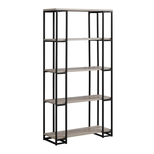 Monarch Specialties I 7241 62 Inch Tall Four Tier Wood Shelving Metal Bookcase