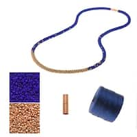 Refill - Long Beaded Kumihimo Necklace - Blue & Rose Gold - Exclusive Beadaholique Jewelry Kit
