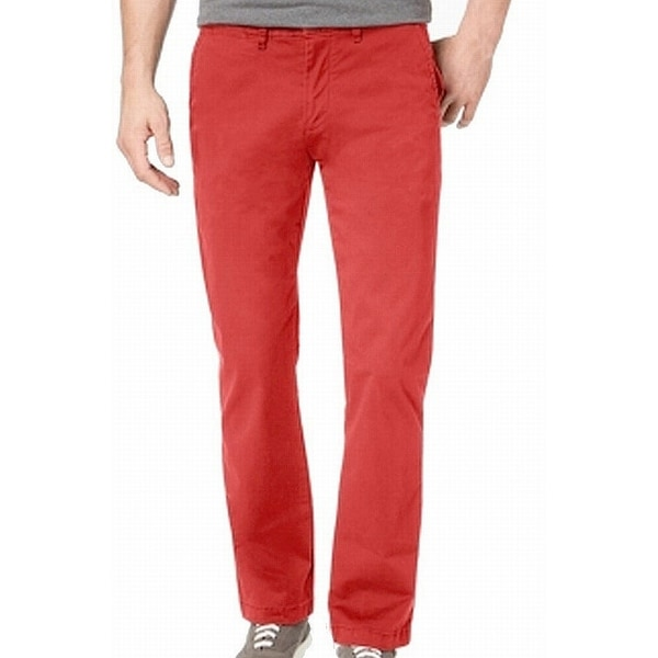 Tommy Hilfiger Mens Chino Pants Red 40x30 Custom-Fit Flat Front Stretch. Opens flyout.