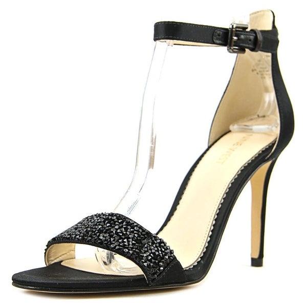 Nine West Mana Women Open Toe Canvas Black Sandals