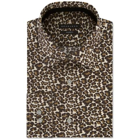 Sean John Mens Dress Shirt Brown Size Large L Cheetah Tailored Fit