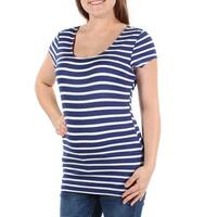 Womens Blue Striped Short Sleeve Scoop Neck Casual Top  Size  M