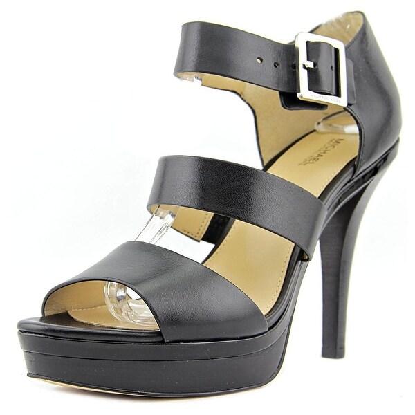Michael Michael Kors Finley Platform Women Leather Black Platform Sandal