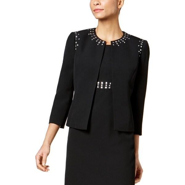 Kasper Womens Open-Front Blazer Embellished Business