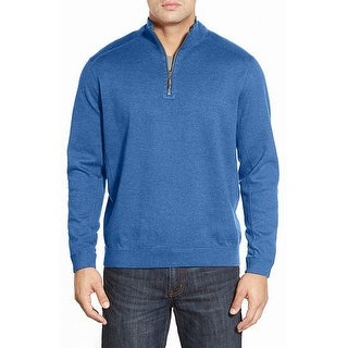 Tommy Bahama NEW Blue Mens Size XL Ribbed 1/2 Zip Pull-Over Sweater