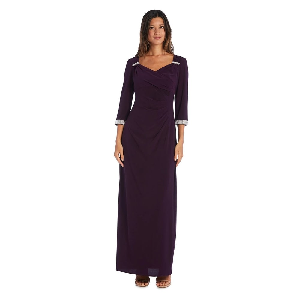R & M Richards Column Gown with 3/4 Sleeves