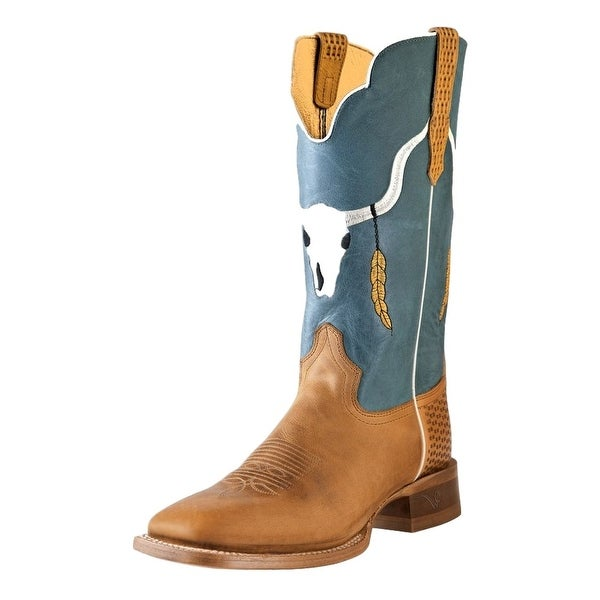 Outlaw Western Boots Mens Longhorn Square Basketweave Alamo Meil