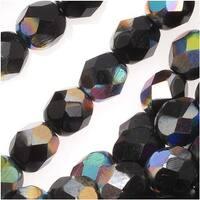 Czech Fire Polished Glass Beads 6mm Round Jet Black Vitrail (25)
