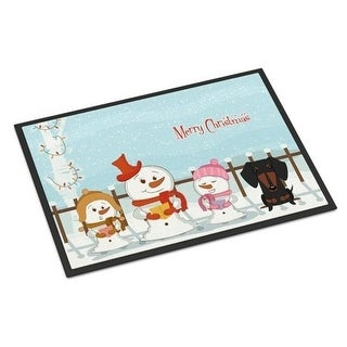 Carolines Treasures BB2463JMAT Merry Christmas Carolers Dachshund Black Tan Indoor or Outdoor Mat 24 x 0.25 x 36 in.