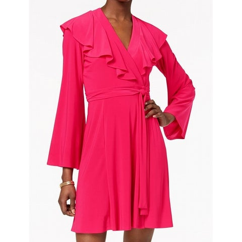 Taylor Pink Womens Size 8 Ruffle Tie-Waist Jersey Knit Wrap Dress