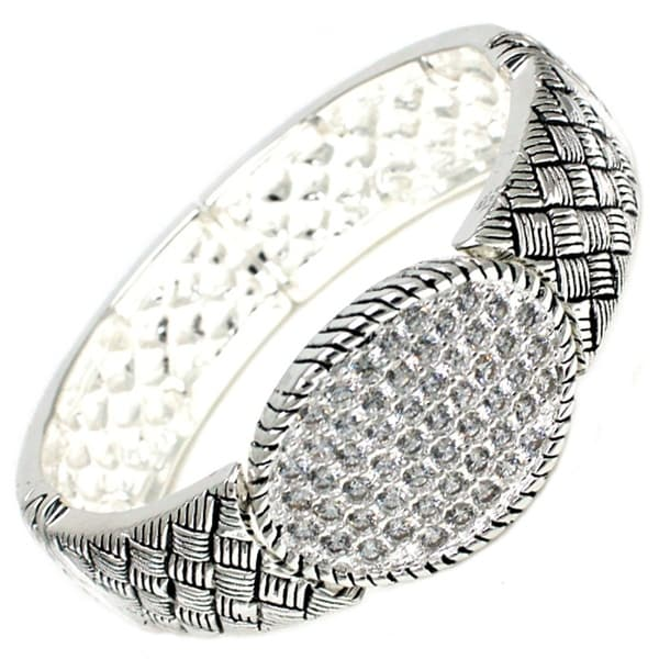 Antique Silver Plated Weave Style & CZ Brass Bangle - Inside Circumference: 6""