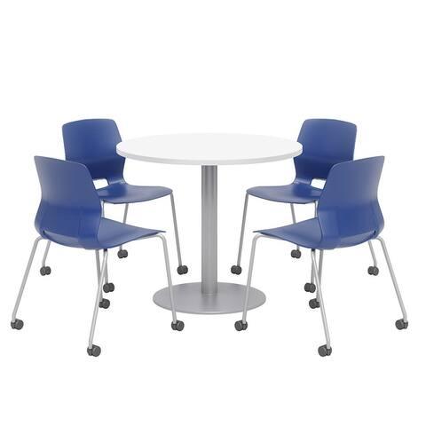 Olio Designs Round Dining Table Set, Lola Caster Chairs, Designer White