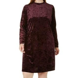 London Times Purple Womens Size 16W Plus Velvet Sheath Dress