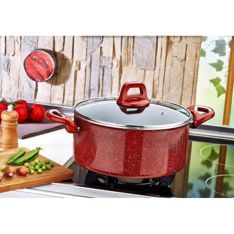 "Tile 7"" Deep Pot, Red"