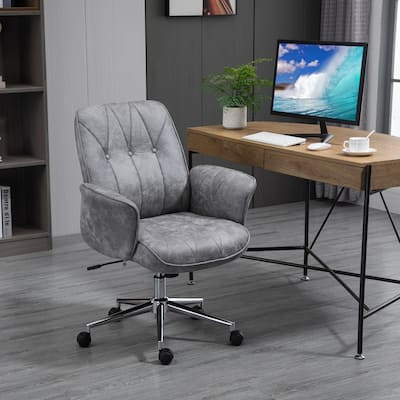 Vinsetto Micro Fiber Home Office Chair with Adjustable Height, Recline Function, Curved Padded Armrests, Light Grey