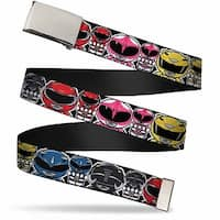 Blank Chrome Buckle Power Rangers Chibi W Faces Close Up Webbing Web Belt