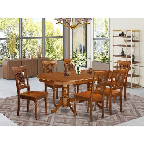 7-Piece Dining set for 6 - Double Pedestal Dining Table with 6 Dining Chairs in Saddle Brown Finish (Chairs Option)
