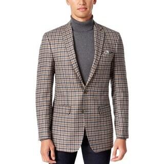 Tallia Orange Slim Fit Grey and Brown Check Wool 2-Button Sportcoat Blazer