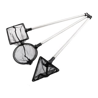 Unique Bargains 3 in 13  x 2.6  Stainless Steel Handle Landing Net Fishing Angler Mesh Gold Shrimp Black Silver Tone