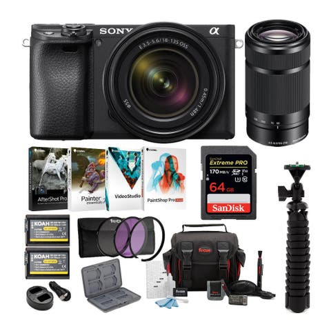 Sony a6400 Mirrorless Camera with 18-135mm and 55-210mm Lens Bundle