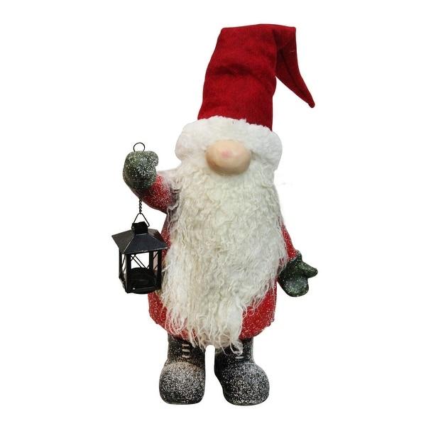 "20"" Decorative Apple Red and White Fiber Glass Santa Gnome with Iron Lantern"