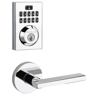 Kwikset 913CNT-HFLRDT-S  SmartCode Touchpad Electronic Deadbolt with Halifax Lever and Round Rosette