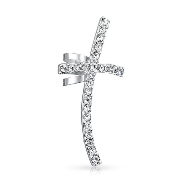 74de3cccb38 Shop Large Cartilage Cross Right Ear Cuff Wrap Clip Clear Crystal Pave  Climber Crawler Lobe Helix Earring Stainless Steel - On Sale - Free  Shipping On ...