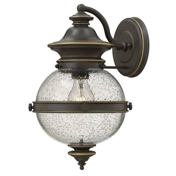 Hinkley Lighting 2344 1-Light Lantern Wall Sconce with Clear Seedy Glass Shade from the Saybrook Collection